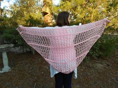 Purfect Meow Pink Spring Fashion Shawl that is almost 30 inches by 33 long in the tail.  www.KaysKoolKrochet.Etsy.com