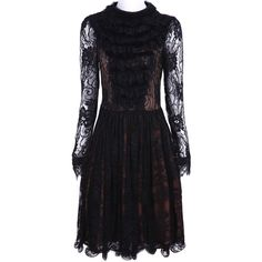 Black Long Sleeve Hollow Pleated Lace Dress ($66) via Polyvore