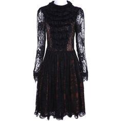 Black Long Sleeve Hollow Pleated Lace Dress ($66) via Polyvore