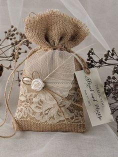 Personalizzata quotazione (60) pizzo rustico favore Bag, rustico matrimonio pizzo matrimonio favore sacchetto, Wedding Bag di tela favore ringrazio rustico regalo borsa Per incartare regalo Max