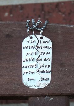 Bible Verse Split Dog Tag - Genesis 31:49 - Deployment Jewelry - Necklace - Pendant - Prayer Jewelry on Etsy, $65.00