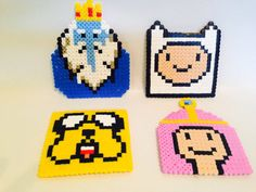 Adventure Time coasters hama perler beads by PikaGeek on Etsy