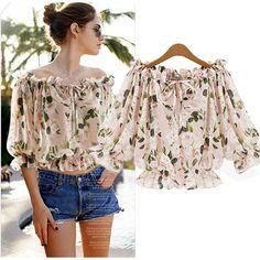 2015 Women New New Stylish Women Casual Chiffon Floral Short Tops Blouse Shirt