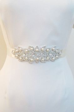 Bridal Belts with Pearls Rhinestones Bridal Crystal Sashes Crystal Beaded Bridal Wedding  Belt