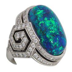 Art Deco Waldmann Inc. Black Opal & diamond ring 26 of 57