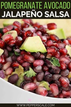 Chock full of reds and greens, this Spicy Pomegranate Avocado Salsa is a looker for both barbecue parties and holiday events. The heat comes from fresh jalapeño pepper. Its bright grassy spiciness works well with pomegranate's fruity tang and the creamy fresh flavor of avocado. #spicy #pomegranate #avocado #salsa #salsarecipe #fruitsalsa Jalapeno Salsa, Jalapeno Recipes, Stuffed Jalapeno Peppers, Spicy Recipes, Great Appetizers, Appetizer Recipes, Easy Mediterranean Diet Recipes, Party Dip Recipes, Chicken Wings Spicy