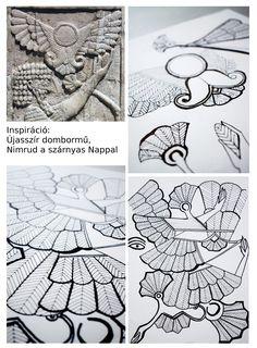 Győri Katalin, mintatervezés. Inspiráció: új asszír dombormű / Győri katalin, pattern design. Inspiration: Neo-Assyrian carved panel