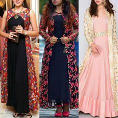 Maxi Dress With Jacket, Shrug For Dresses, Silk Kurti Designs, Kurta Designs Women, Long Dress Design, Dress Neck Designs, Indian Gowns, Indian Attire, Simple Gowns