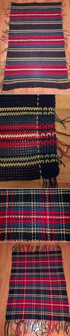 Color Inspiration :: Woven Plaid Crochet Afghan, pattern from Leisure Arts No. 63 - The Afghan Book (pub. 1975).  As with most plaid patterns, start with a double crochet mesh ground (warp), then weave through spaces (weft).  Weft can be done with loose yarn as shown here, as unattached chains, or attached chains.  . . . .   ღTrish W ~ http://www.pinterest.com/trishw/  . . . .   #blanket #throw
