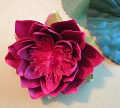 Red Lotus hair flower clip  Wedding  Hawaiian  by olgadesigns, looks like pink