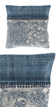 Inject a little bit of textural appeal with the classic print featured on the Paisley Impressions Throw Pillow. Sewing Pillows, Diy Pillows, Decorative Pillows, Cushions, Throw Pillows, Jean Crafts, Denim Crafts, Artisanats Denim, Denim Ideas