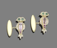 A pair of gem-set cufflinks