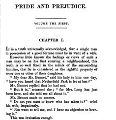 Pride & Prejudice, by Jane Austen. Oh I just love this book. So so much.