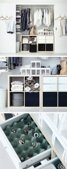 Spice up your wardrobe with a mix-and-match approach to interior fittings. Open units like KALLAX can help store rolled up towels and blankets, while something as simple as a cut up egg tray can keep jewellery and small items organised.