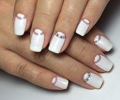 white moon nails with negative space best nail art designs  #nail #design #nailart