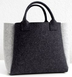 Carbón de leña sentí Shopper gris bolsa bolso bolso por WeltinFelt