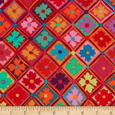 Kaffe Fassett Antwerp Flowers Red from @fabricdotcom  Designed by Kaffe Fassett for Westminister, this cotton fabric is perfect for quilting, apparel and home decor accents. The colors include red, green, orange, teal, blue, pink and purple.