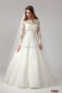 Pretty Princess Bateau Long-Sleeve Floor-length Chapel Lace Wedding Dress