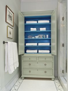 """Anastasia Linen Press"" with agean blue interior by Gary Inman and Joseph Elko for Gary Inman Home Couture"