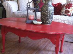 red painted furniture | Vintage Rescue Painted Furniture | red coffee table 5.JPG