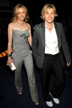 See Ellen Degeneres' best red carpet looks before she hosts the 2014 Oscars. Celebrity Look, Celebrity Couples, Ellen Degeneres And Wife, The Ellen Show, Ellen Degeneress, Ellen And Portia, Portia De Rossi, Famous Couples, Happy Couples