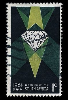 SOUTH AFRICA - CIRCA 1966 A stamp Printed in South Africa shows a diamond as resource, commemorate 5 years of Republic 1961-1966, circa 1966