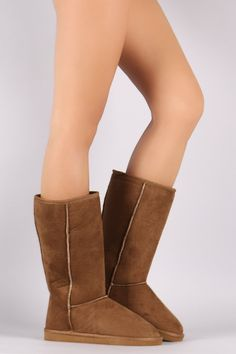 Keep your feet warm and cozy this season with these comfy mid calf boots ! It features round toe front, stitching details, and low flat heel. Finished with cush Flat Boots, Mid Calf Boots, Bearpaw Boots, Warm And Cozy, Wedges, Comfy, Flats, Heels, Stitching