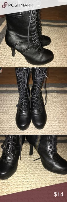 Black lace up boots with zipper on side Some scuffs as pictured but barely noticeable. Zipper is a little tight but should ease up with use. Bliss Shoes Ankle Boots & Booties