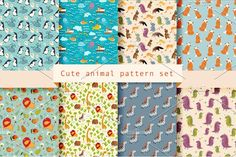 Cute animal pattern set Graphics Drawn style seamless background patterns. Vector illustration.Zip file contains: - 9 EPS10 fil by Rimma_Z