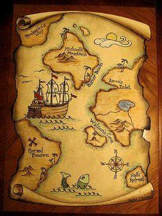 Risultati immagini per giant treasure map wall decoration mural Pirate Treasure Maps, Pirate Maps, Pirate Theme, Treasure Island Map, Treasure Hunt Map, Map Wall Decor, Wall Murals, Deco Pirate, Fantasy Map
