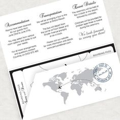 The perfect finishing touch to your travel themed wedding stationery. With a world map illustration and your personalised wording detailing event