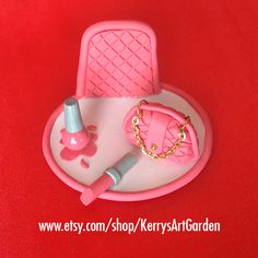 Pink Quilted Purse, Nail Polish & Lipstick Polymer Clay Business Card Holder $30 www.etsy.com/shop/KerrysArtGarden