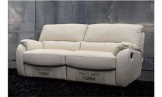 Sofá relax tres plazas en piel natural espesorada color crema