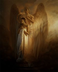 """""""Sacred Hour II"""" (2009), By Christophe Vacher, Oil on Canvas, Private Collection, Toluca Lake, California, United States. #angels"""