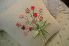 Reserved for Sarah Pink Floral Bouquet Pillow