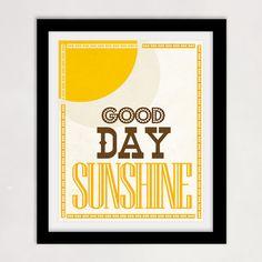 The Beatles - Nursery Print - Good Day Sunshine- Summer, Brown and gold Decor, Music - 8x10 print