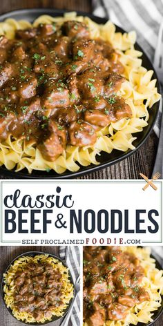 Beef and Noodles using Granny's classic easy recipe made even quicker in the Instant Pot, but can be made using the crockpot or stove top too. This is the best easy dinner recipe you'll find with stew meat and a creamy mushroom sauce. Best Easy Dinner Recipes, Instant Pot Dinner Recipes, Dinner Ideas With Beef, Easy Meal Ideas, Simple Meals For Dinner, Fancy Meals, Stew Meat Recipes, Cooker Recipes, Italian Beef Recipes
