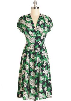 Everything is Bouquet Dress by Trashy Diva - Floral, Daytime Party, A-line, Cap Sleeves, Woven, Best, V Neck, Long, Multi, Green, Black, Whi...