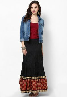 Love the long skirt styled with denim jacket and jhumkas, perfect fusion