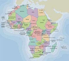 Mapa político de África.