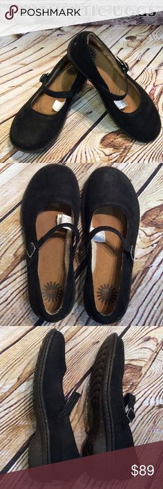"""Black Leather UGG """"KANDACE"""" Buckle Mary Jane Shoes UGG AUSTRALIA black leather mary jane shoes. Leather footbed, shearling along inside side of shoes and above toes, rubber sole. New never worn. NO BOX UGG Shoes Flats & Loafers"""