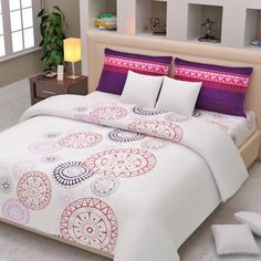 Westa Contemporary Double Bed Sheet With Two Pillow Covers White, Purple U0026  Pink,Double Size