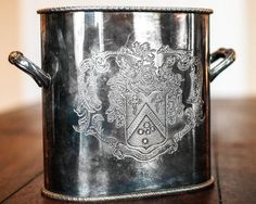 Antique / Vintage Silverplate Wine Cooler Ice Bucket Coat of Arms Handled Silver Plated Champagne Bottle Unique Rare Decorative Barware Bar