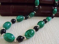 Green and Black Beaded Necklace by SunshineSurprises on Etsy, $12.00