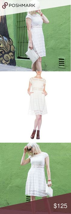 Weston Wear Melodie Lace Stripe Dress??? Lined white lace striped dress - Detailed with pockets and cap sleeves. Details: 54% cotton, 46% polyester, 5% spandex. Care Instructions: Dry clean, or hand wash cold and hang dry. Fit: Runs true to size. Made in the USA. By Weston. Weston Dresses Midi