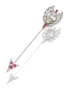 RUBY AND DIAMOND JABOT PIN,  CIRCA 1920