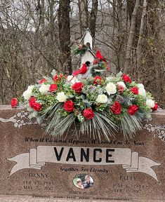 Winter grave saddle made with love for my parents. When a cardinal appears, a loved one is near. Christmas Wreaths, Christmas Tree, May 7th, Floral Arrangements, Parents, Memories, Halloween, Holiday Decor, Winter