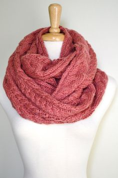 Chunky Knitted Loop Infinity Circle Scarf Cable Pattern Snood Cowl Women's Fashion Accessory. $40.00, via Etsy.