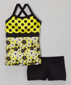 This Yellow & Black Polka Dot Tank & Shorts - Girls by Elliewear is perfect! #zulilyfinds