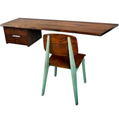 """George Nakashima """"Free Edge"""" Wall-Mounted Desk 